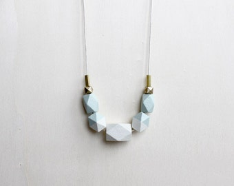pastel wooden geometric necklace, light green statement necklace, gift for women, modern everyday necklace