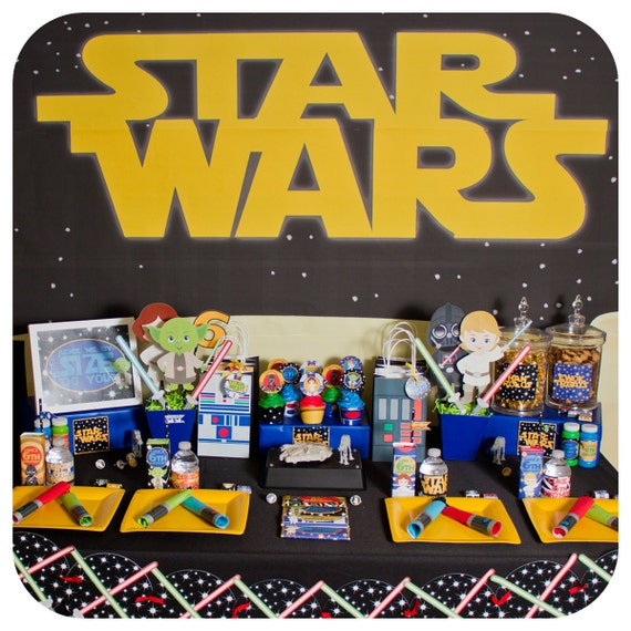 Star Wars; Star Wars Party ; Star Wars Birthday Party; Star Wars Party Kit; Star Wars party decor  for 24 Printed, Cut, and Shipped to you!