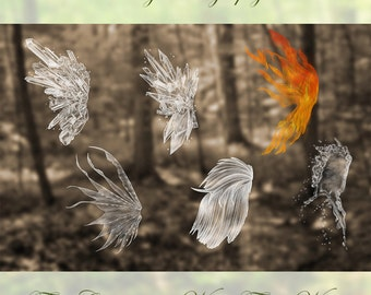 6  Digital Fire, Crystal and Water Fairy Wing OVERLAYS