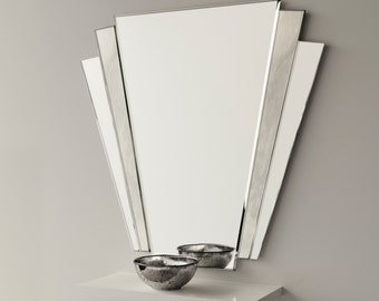 Art deco mirror. 1930s inspired Art Deco wall mirror with antiqued mirror  and Fan design