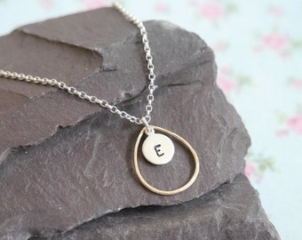 Silver and Gold Personalised Initial Necklace, Mothers Day Gift Idea for Wife, Mixed Metal Necklace, Initial Jewellery, Teardrop Oval