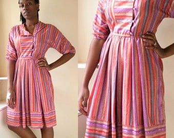 vintage spring dress, rainbow striped dress, 1970s clothing, pink dress, dress with pockets, summer dress, pleated dress size 4,