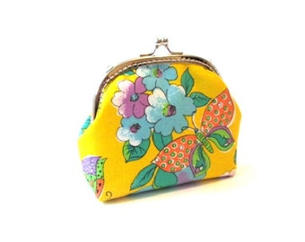 Yellow frame purse silver kiss lock clasp bag clutch colorful butterfly with flowers coin purse, yellow frame makeup bag