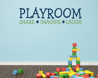 Playroom Wall Decal - Share Imagine Laugh - Kids Playroom - Vinyl Lettering - Playroom Wall Sticker - Removable Wall Decal