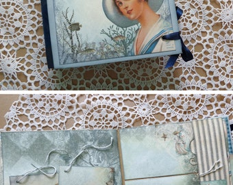 Mini nautical scrapbook photo album journal with a nostalgic summer feeling.