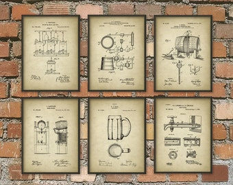 Beer Brewing Patent Prints Set of 6 - Beer Poster - Beer Art - Beer Wall Art - Beer Patent Print - Beer Brewing Posters