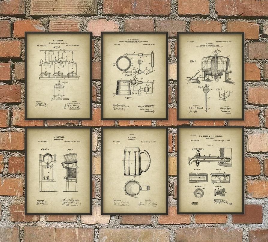 Bar Wall Decor beer brewing patent prints set of 6 beer poster beer art