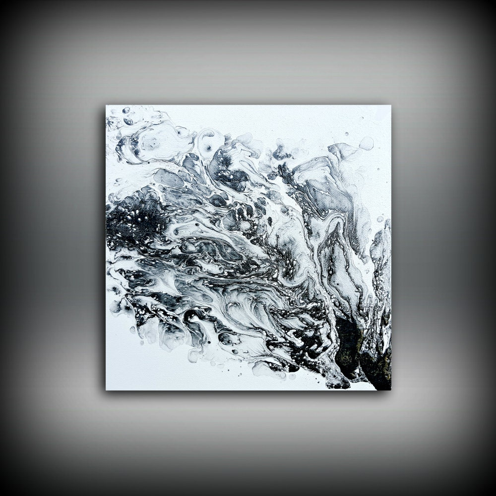 Original painting art painting acrylic painting abstract for Modern black and white wall art