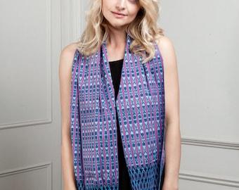 Short Unisex Cotton Scarf, Mexican Rebozo, Handwoven short Mexican rebozo scarf, Pink & Blue, Red and Blue, Ikat Design, Cotton Short Scarf