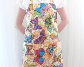 Butterfly Ladies' Apron, Full Linen Cotton Apron, Womens Aprons, Ready to Ship