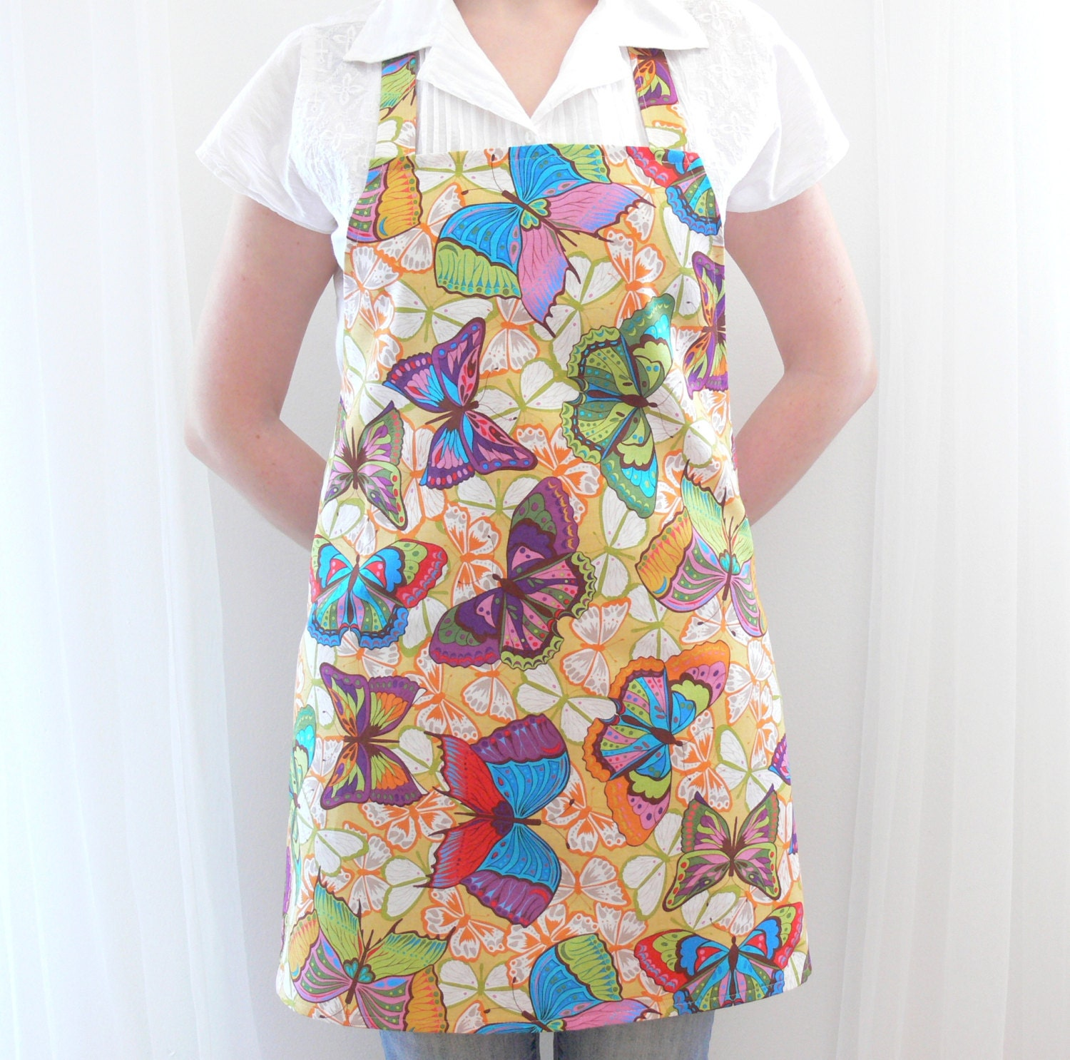 linen womens aprons aprons for womenbutterfly full apron. Black Bedroom Furniture Sets. Home Design Ideas