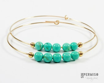 Turquoise Beads Gold Filled Hoop Earrings,Delicate turquoise earrings,