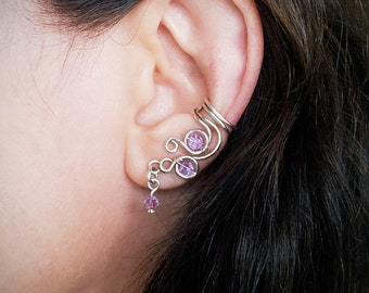 Silver Ear Cuff Purple Violet Swarovski Crystal Sparkle Silver plated Ear Wrap