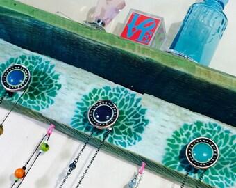 Floating shelves/ Pallet wood shelf /reclaimed wood wall coat rack hanging makeup organizer/ jewelry storage Stenciled mums 5 knobs 6 hooks