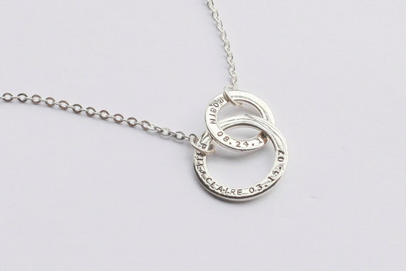 personalized two circle necklace handsted by centimegift
