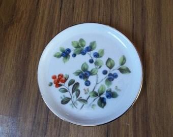 Furstenberg Porcelain Płate / Butter Pat  with Blueberries Pattern
