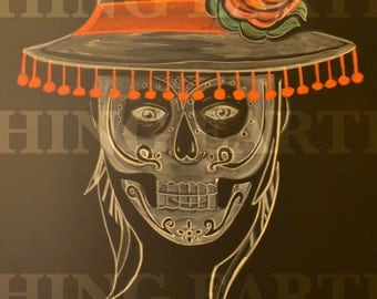 Day of the dead man illustration done in colored and white chalk