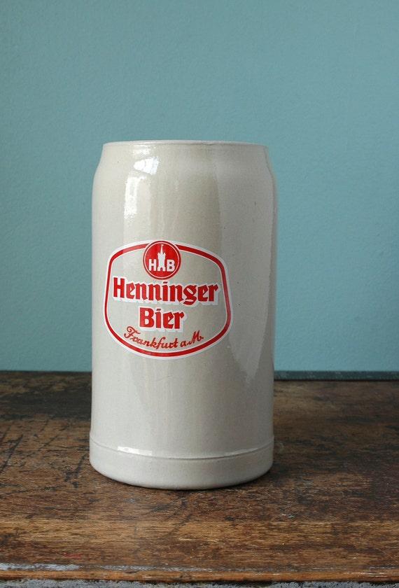 1983 1 Liter Beer Stein Henninger Bier Frankfurt 33 Oz German