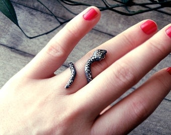 Sherpent ring, snake ring, sterling silver ring, Grecian jewelry, Greek style ring, open ring, marcasite ring, adjustable silver ring