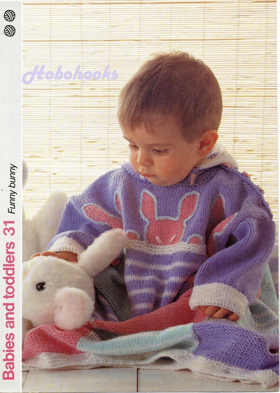 Baby knitting pattern baby sleeping bag bunny motif button on