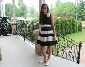 Adorable Black and White stripes dress, White and Blue stripes,
