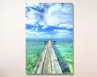 Riatea Pier and Lagoon Photo /French Polynesia Photo| beach photo | tahiti photo | tropical wall art  | beach photography | bora bora photo