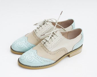 Leather Handmade Mint Almond Milky Oxfords Brogue Vintage-inspired Wedding Gifts Shoes Wingtips