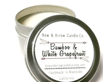4 oz Natural Soy Candle Bamboo & White Grapefruit Scented | 4 oz Tin Candle | Bamboo Candle | Grapefruit Candle | Scented Candle | Gift Idea