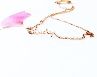 Rose Golf Lucky Necklace 18K Rose Gold Letter Necklace Simple Everyday Chain Necklace Birthday Special Occasion Ideal Gift