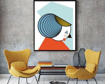 Lady, geometric art poster, retro design, modern minimalist print, retro art, colourful wall, artistic poster, wall decor poster, wall art