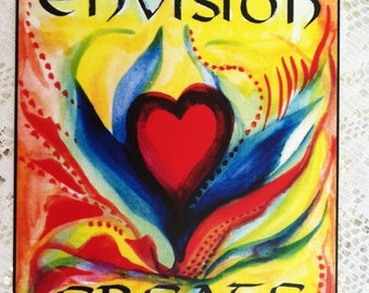 ENVISION CREATE Motivational Gift Yoga Meditation Law of ATTRACTION Inspirational Quote Positive Thinking Heartful Art by Raphaella Vaisseau