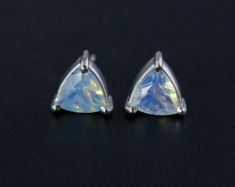 Pyramid White Opalite Studs - Silver Filled