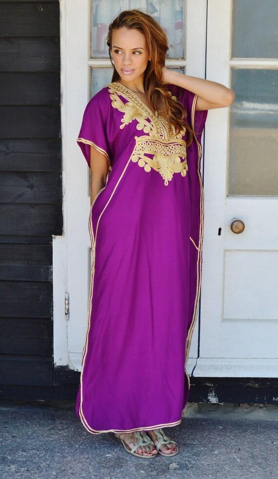 Autumn Dress Sale- Plum Purple with Gold Marrakech Resort Caftan Kaftan, loungewear, dresses, birthdays, honeymoon, maternity, winter dress