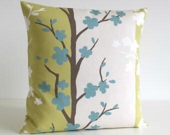 Green Cushion Cover, Scandinavian Cushion Cover, Cotton Pillow Case, Decorative Sofa Pillow, Throw Pillows - Nordic Blossom Pistachio