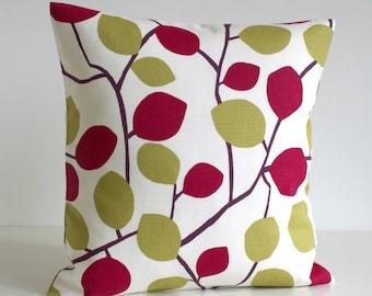 Contemporary Pillow Cover, Pillow Case, Pillowcase, Red Cushion Cover, Pillow Sham, Sofa Pillow, Toss Pillow - Nordic Leaves Dijon