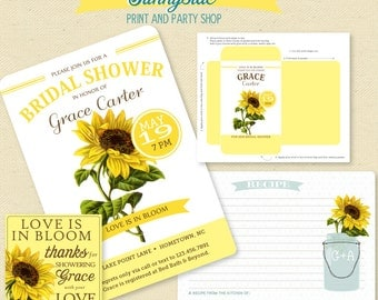 SUNFLOWER Bridal Shower Invitation Seed Packet Favor Tag & Recipe Card for fall, garden, country bridal shower, yellow, printable