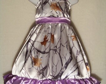 CAMO Flower Girl Dress / Snow Camo + Lavender / Satin / Wedding / Bridesmaid / Pageant / Infant / Baby/ Girl/ Toddler / Boutique Clothing