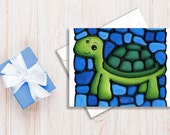 Turtle Greeting Card - Green Turtle on Blue Background - Baby Shower Invite - Birthday Card - Holiday Card - Single - by artist Kathy Lycka