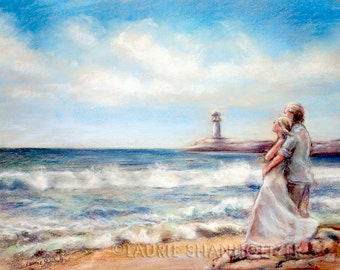 "beach painting  romantic Couple Ocean  lovers hug Canvas or paper print ""I Would Rather Be Here"" Laurie Shanholtzer"