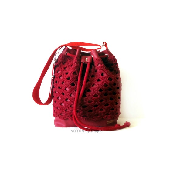 Crochet Bucket Bag : Red Crochet Bucket Bag Bucket Bag Purse Vegan Bag by NOTONbyRaquel