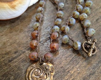 """Mermaid of the Sea, Crocheted Necklace Knotted """"Vintage Beach Chic"""" Mystical by Two Silver Sisters"""