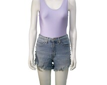 Vintage Light Denim Daisy Dukes High Waisted Shorts With Custom Lace And Stud Detail