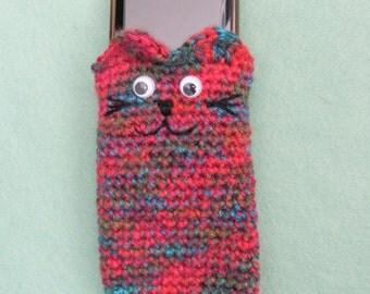 Crochet multicolour cellphone cosy and cat cosy