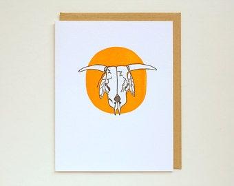 Steer Skull - Letterpress - Greeting Card - Crane Lettra - longhorn - orange - A2