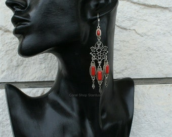 red coral branch earrings croatian filigree by