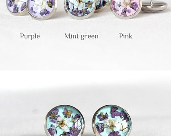 Floral jewelry for friend gift Round earrings for mother gift Mint stud earrings Simple earrings for kids Pink studs Round studs Purple stud