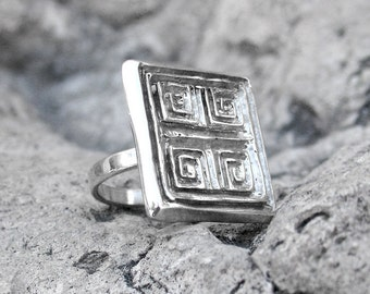 Greek Meander Ring - Square Ring - Greek Gift - Silver Greek Ring - Greek Jewelry - Ancient Greek Ring - Gift For Her - Statement Ring