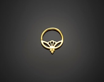 Gold Septum Ring 18g Gold Nose Ring, Lotus Septum, Tribal Septum, Indian Septum Jewelry by NoitaDesigns