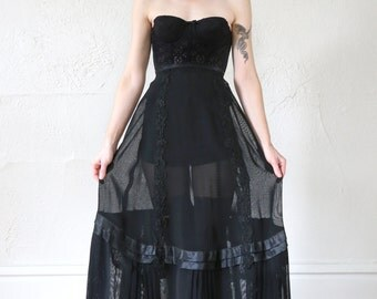 SALE- 1800s Victorian Skirt Sheer Black