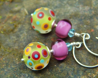 Green Dot Earrings - Artist-Made Etched Glass Beads & Lilac Lampwork Glass Beads w Blue Crystals and Handmade Sterling Silver Ear Wires